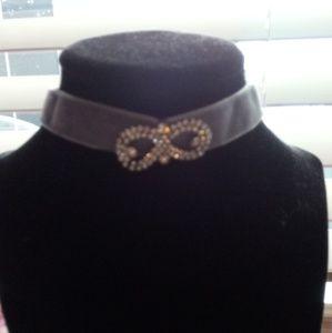 Jewelry - Gray velvet choker with rhinestone infinity